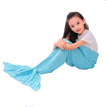 e-joy Mermaid Tail Crochet Knitting Blanket all Season Bag Best Birthday Christmas Gift Handmade Living Room Sleeping Blanket for Kids and Adult - Children Blue