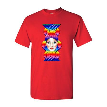 The Best Hair Rainbow Girl Tanya Ramsey Artworks Art DT Adult T-Shirt (Best Dark Magician Artwork)