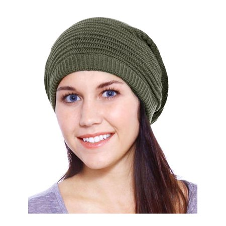 Large Slouchy Knit Rasta Beret Beanie Hat - Olive (Rasta Beanie Hat)