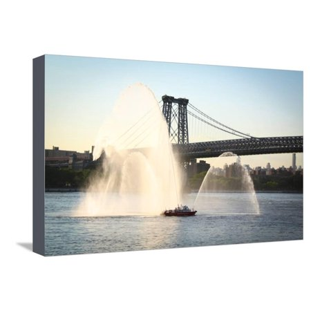 New York Fire Department Boat Spraying Water Photo Poster Stretched Canvas Print Wall Art
