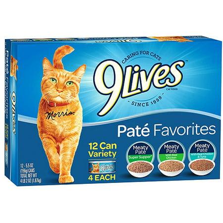 Image of 9 Lives Variety Pate Favorites - Wet Cat Food - 5.5oz/12pk