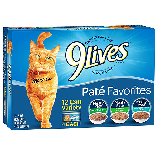 9Lives Pate Favorites Wet Cat Food Variety Pack, 5.5-Ounce Cans (Pack of 12)