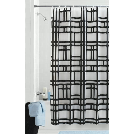 Mainstays Elements Geometric PEVA Shower Curtain (Best Shower Curtain Material)