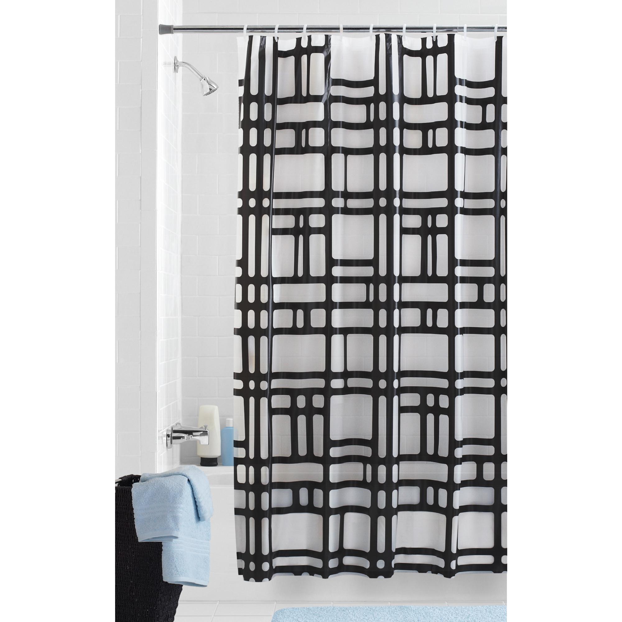 Mainstays Elements Geometric PEVA Shower Curtain