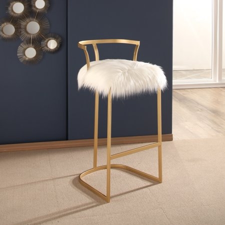 buy popular 9837e 60aa0 Devon & Claire Celina White Faux Fur Bar Stool