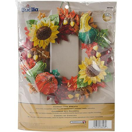 "Bucilla   Felt Applique Home Decor Kit by Plaid, Harvest Time Wreath, 15"" x   15"""