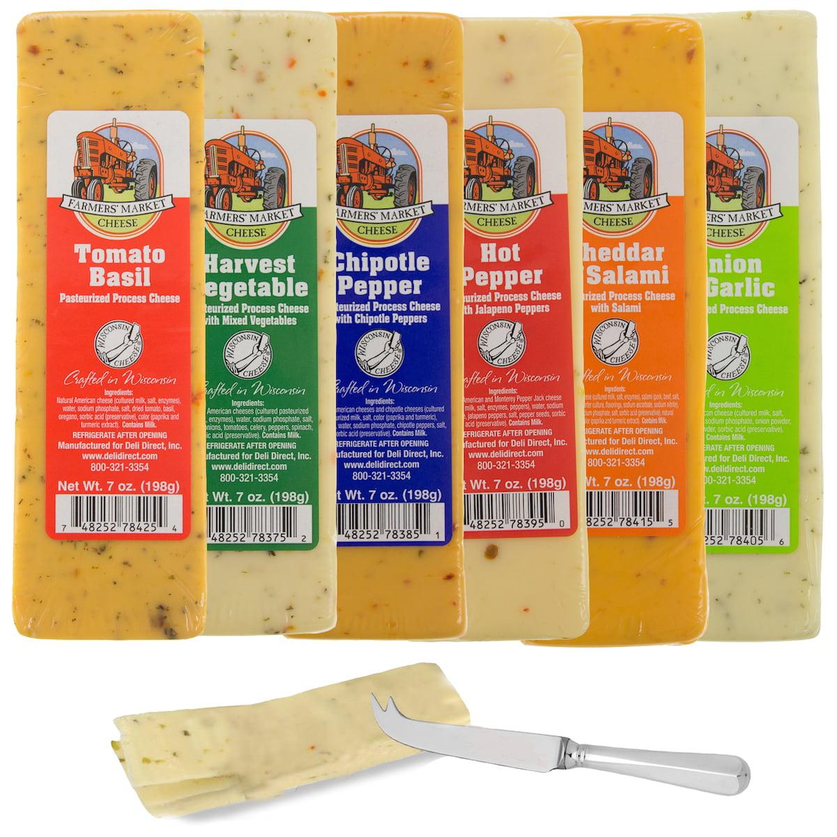 Set of 6 Farmers Market Gourmet Wisconsin Cheese Bricks Gift Basket Fondue Food Blocks