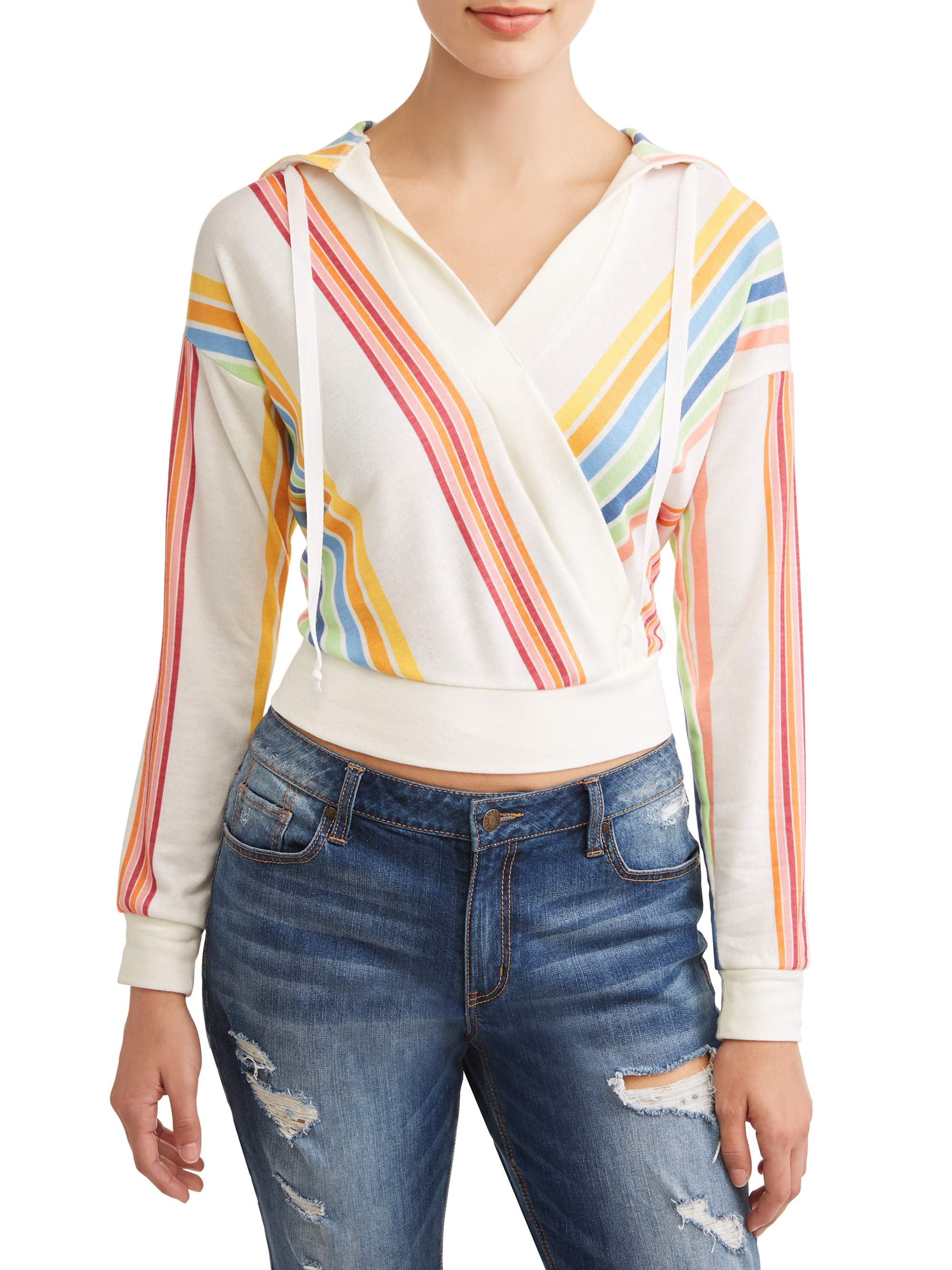 Juniors' Mixed Stripe V-Neck Long Sleeve Pullover Hoodie