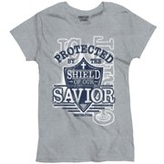 Protected By The Shield Savior Christian Shirt Religious Gift Ladies T-Shirt