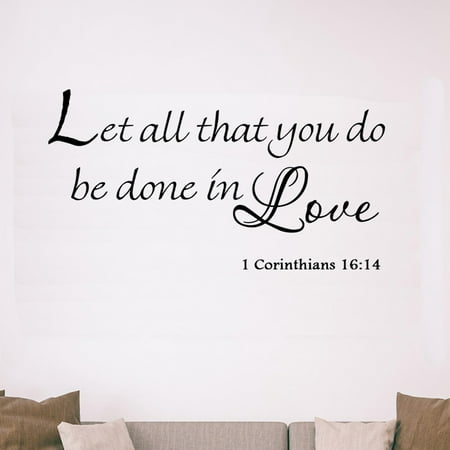 VWAQ Let All That You Do Be Done in Love 1 Corinthians 16:14 Vinyl Wall Art Religious Faith Home Decal Decor Christian Quote Bible Scripture Wall Decals - Christian Halloween Quotes