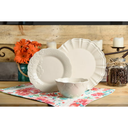 The Pioneer Woman Isabelle Linen 12-Piece Dinnerware Set