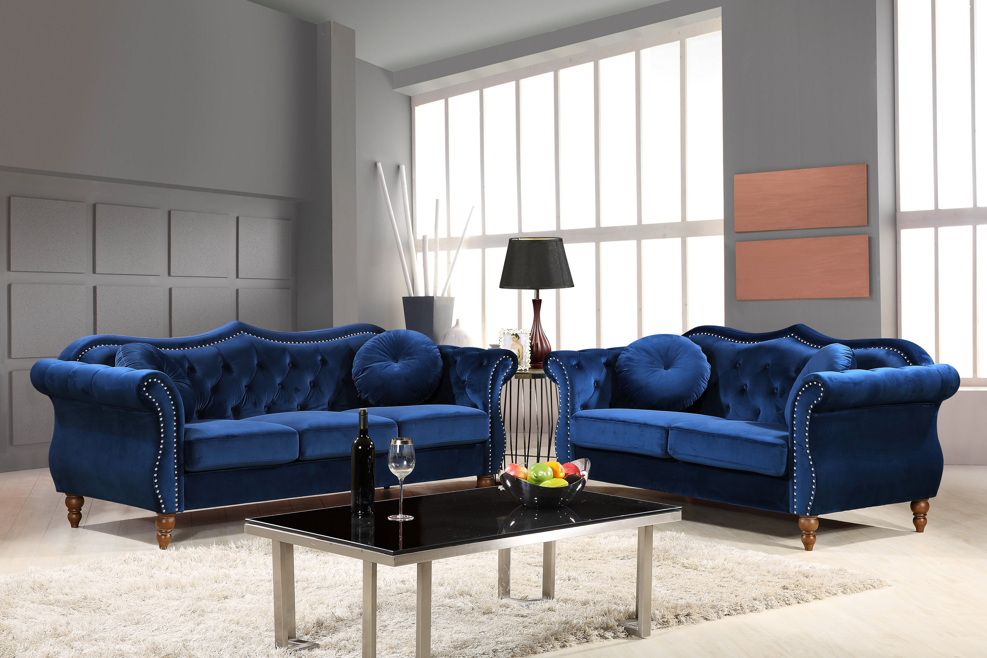 Us pride furniture carbon classic nail head chesterfield 2 piece living room set blue walmart com