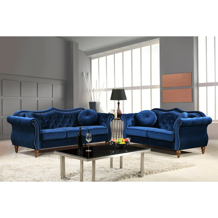 US Pride Furniture Carbon Classic Nail-head Chesterfield 2 Piece Living Room Set Blue (Living Room Furniture Sets Red)
