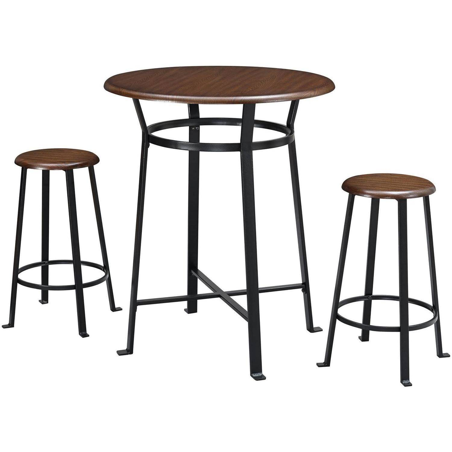 3 Piece Dining Set Bar Stools Pub Table Breakfast Chairs: Metal Pub Set 3 Piece Round Wood Top Table Stools Kitchen
