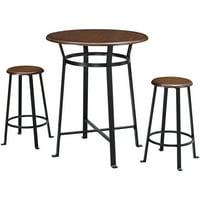 Mainstays Round 3pc Metal Pub Set with Wood Top, Dark Mahogany