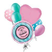 7 pc Princess Fairy tale Happy Birthday Balloon Bouquet Party Decoration Pink Aqua