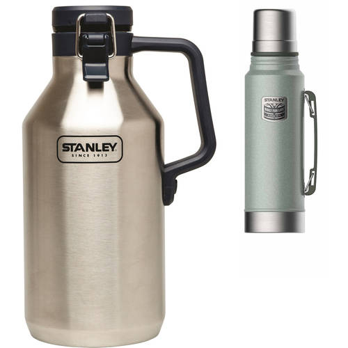 Stanley 1.1-Quart Classic Vacuum Bottle, Green with 64oz Growler Value Bundle