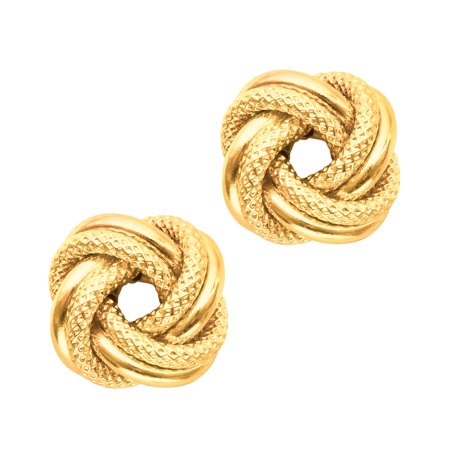 14k Yellow Gold Shiny And Textured Double Row Love Knot Stud Earrings,