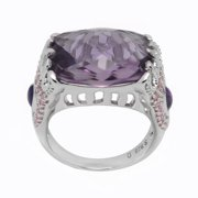 De Buman Genuine Amethyst and White Topaz Sterling Silver Ring Size 7