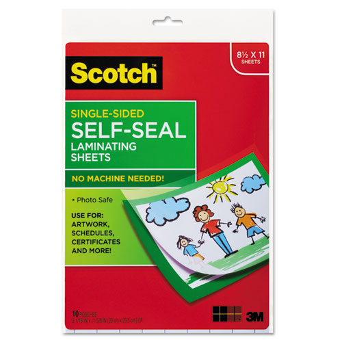 "Scotch Single-Sided Laminating Sheets, 8.5"" x 10"", # LS854SS-10"