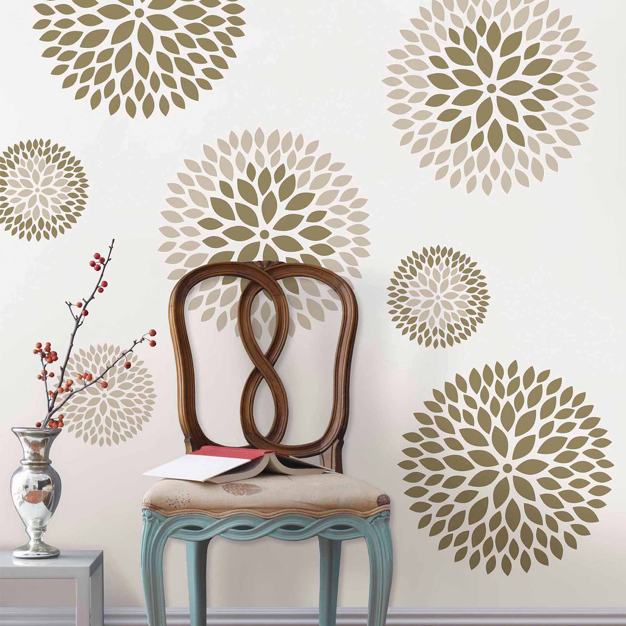 Wall Art Decals wallpops chrysanthemum wall art decals kit - walmart