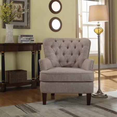 Button Tufted Accent Chair With Nailhead Taupe Color