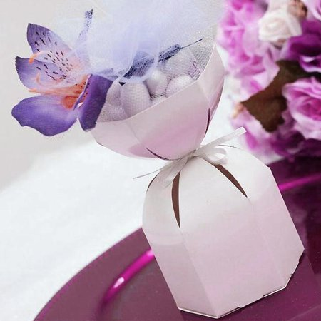 Efavormart 100pcs White Wedding Dress Favor Boxes Candy Favor Box For Wedding Reception Banquet Party for $<!---->