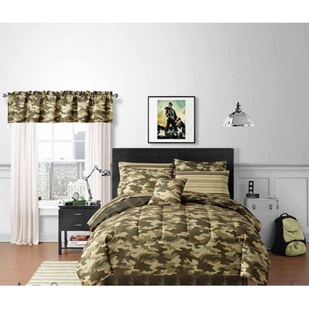 Green Boys Camo Camouflage Twin Comforter Set 6 Piece Bed In A Bag