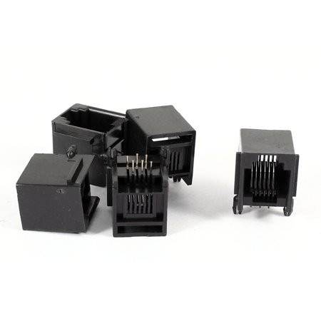 Angle Modular Insert (Unique Bargains 5 Pieces Right Angle PCB 6P6C RJ11 Socket Modular Jack Telephone)