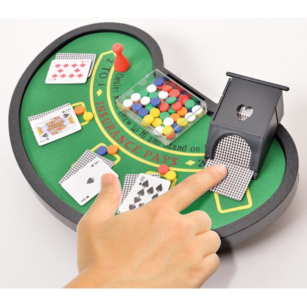 Desktop Miniature Blackjack Table Set With Mini Card Deck Poker