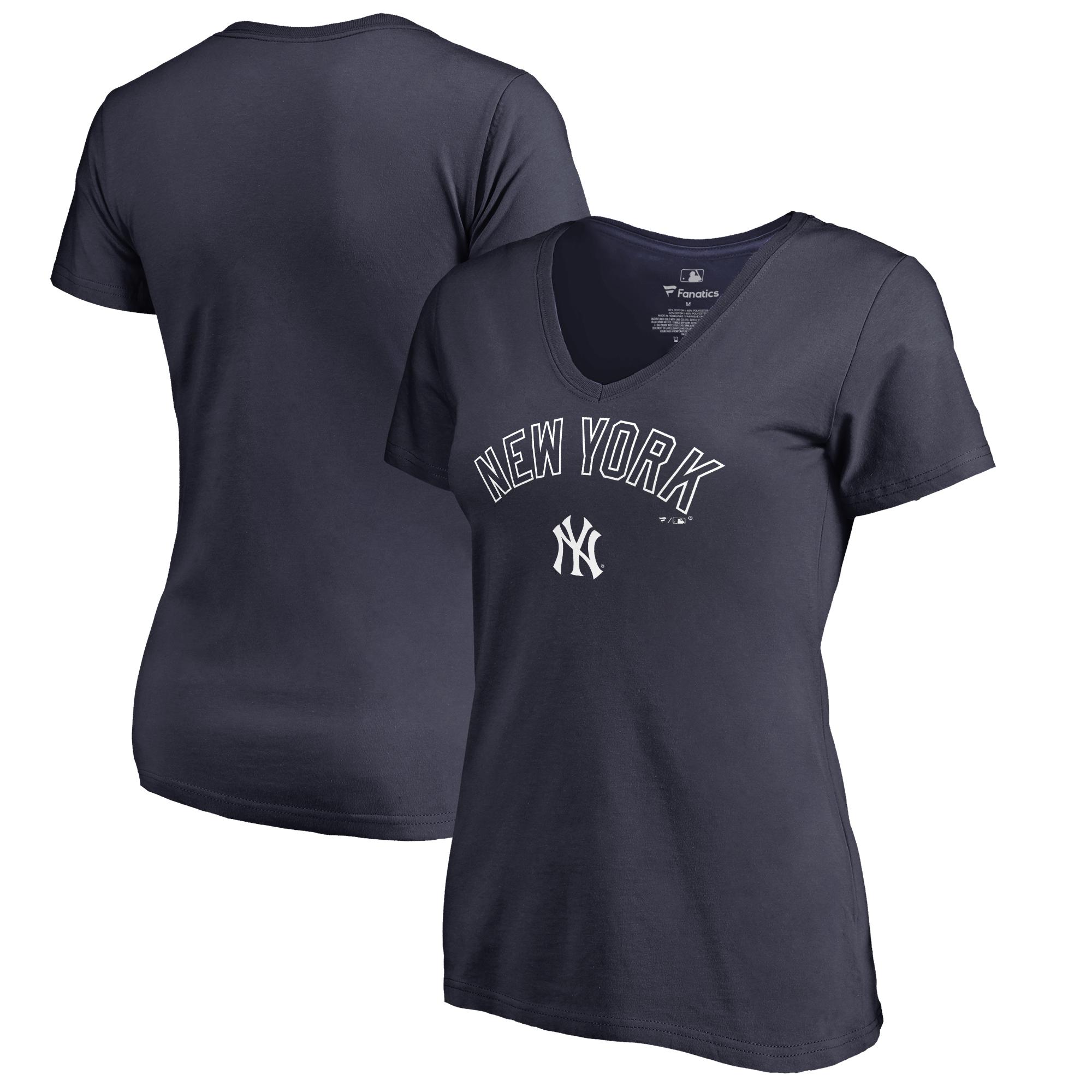 New York Yankees Fanatics Branded Women's Plus Sizes Team Lockup T-Shirt - Navy