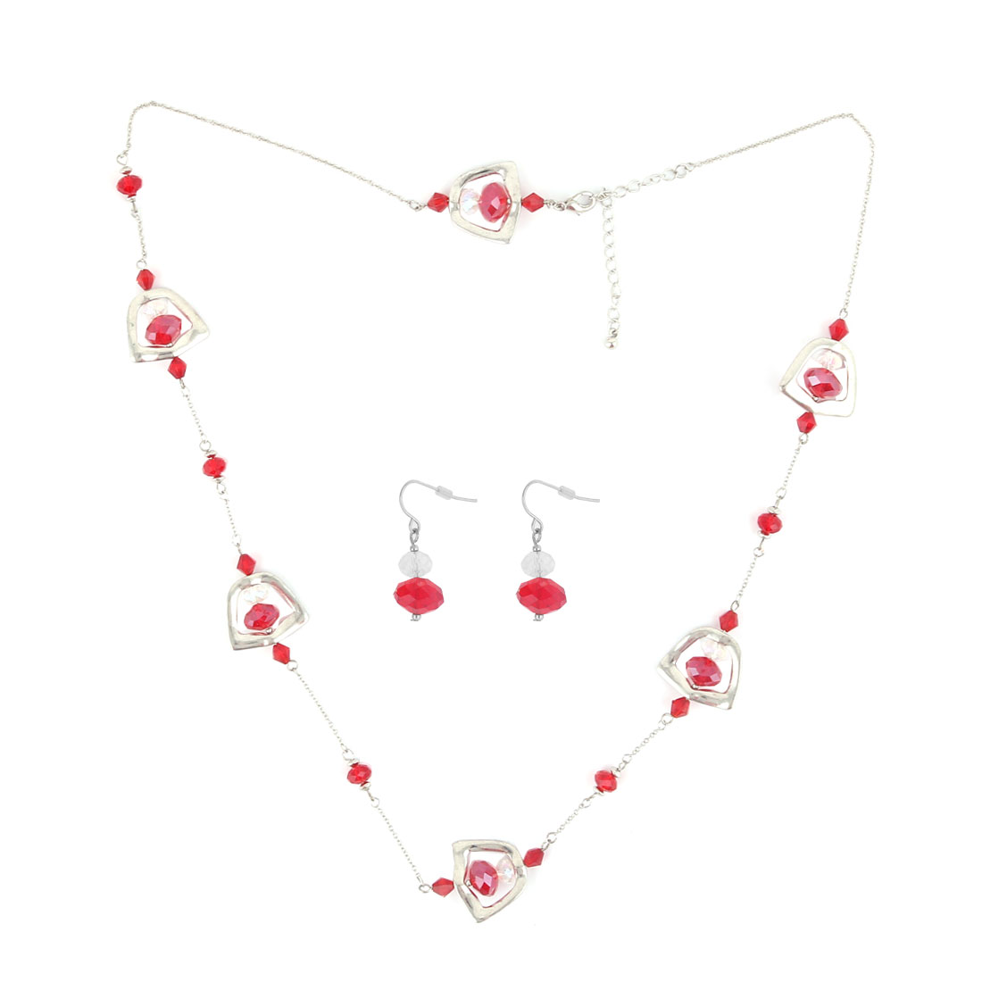 Ladies Red Plastic Beads Decor Shield Design Metal Necklace w Fish Hook Earrings