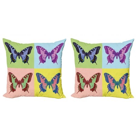 Butterfly Throw Pillow Cushion Cover Pack of 2, Pop Art Swallowtail Pavilions Wild Life Transcendent Energies of Miraculous Wings, Zippered Double-Side Digital Print, 4 Sizes, Multicolor, by Ambesonne Swallowtail Life Cycle