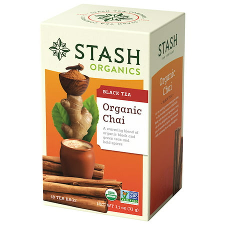 (2 Pack) Stash Tea Organic Chai Spice Black and Green Tea, 18 Ct, 1.1 Oz