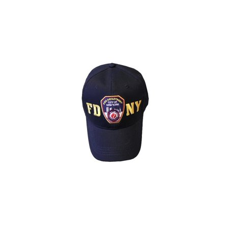 NYC FACTORY FDNY Baseball Hat Police Badge Fire Department of New York City Navy & Gold O.