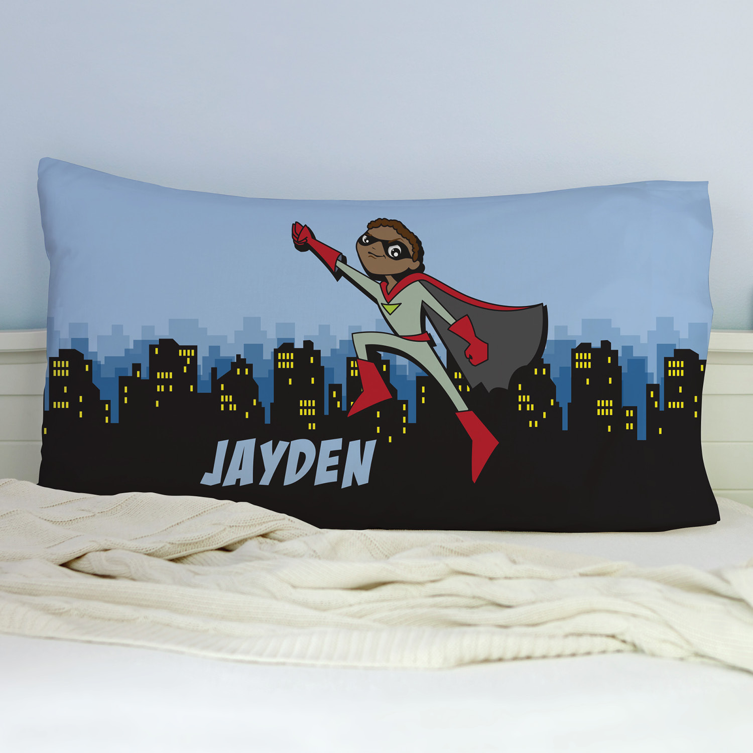 Personalized Dark Skin Superhero Pillowcase