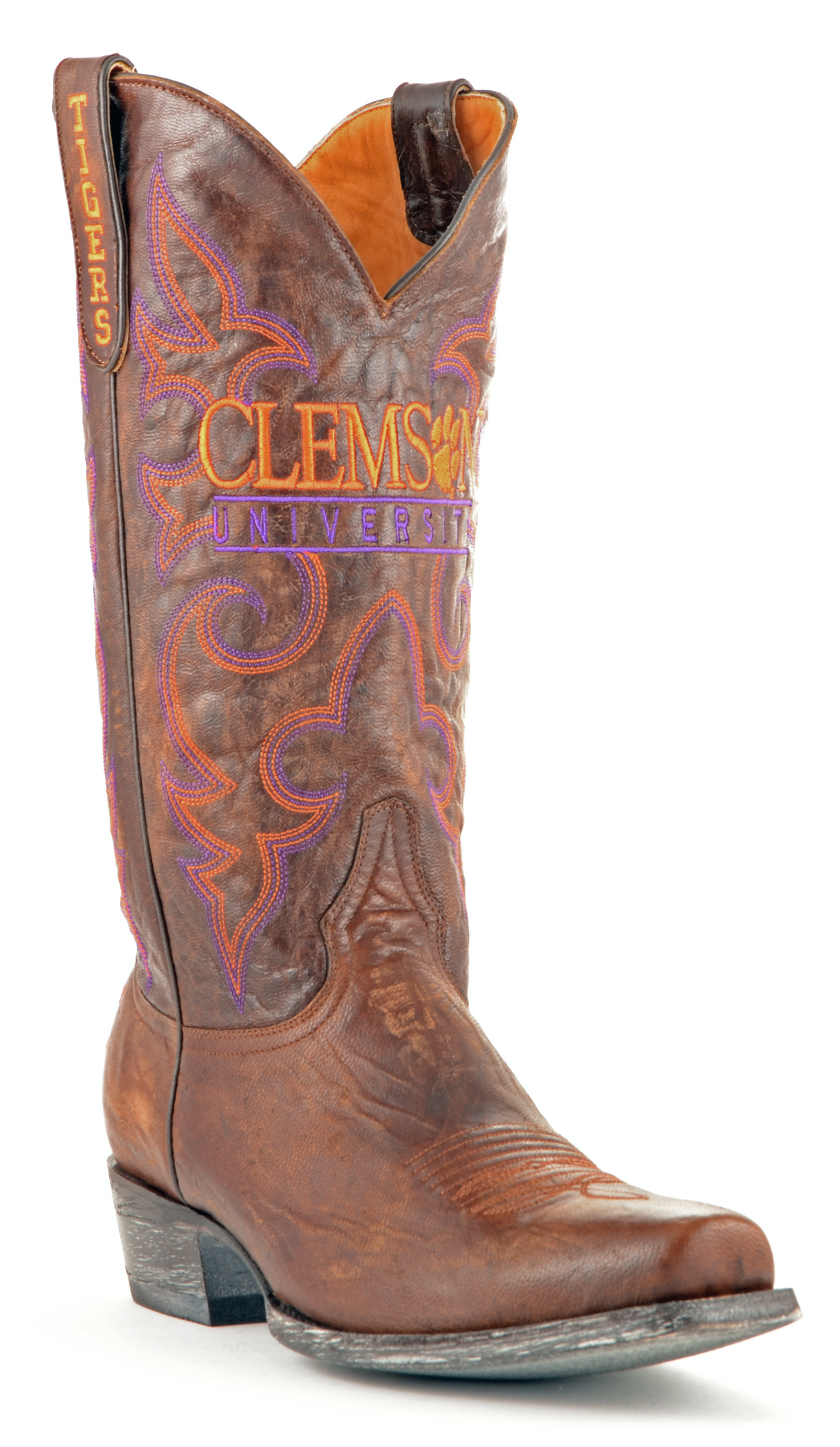 Gameday Boots Leather Clemson Board Room Cowboy Boots by GameDay Boots