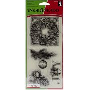 "Inkadinkado Christmas Clear Stamps, 4"" x 8"", Evergreen Holiday"