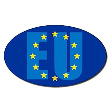 Decal Union (OVAL EU Letters on European Union Flag Sticker Decal (ar decal) Size: 3 x 5 inch)