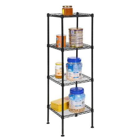 Black 4 / 5 layer Tower Shelf Floor Stand Display Storage Shelving Organizer Carbon Steel Mesh Rack ECBY