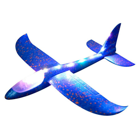 Foam Throwing Glider Airplane Inertia LED Aircraft Toy Hand Launch Airplane Model ()