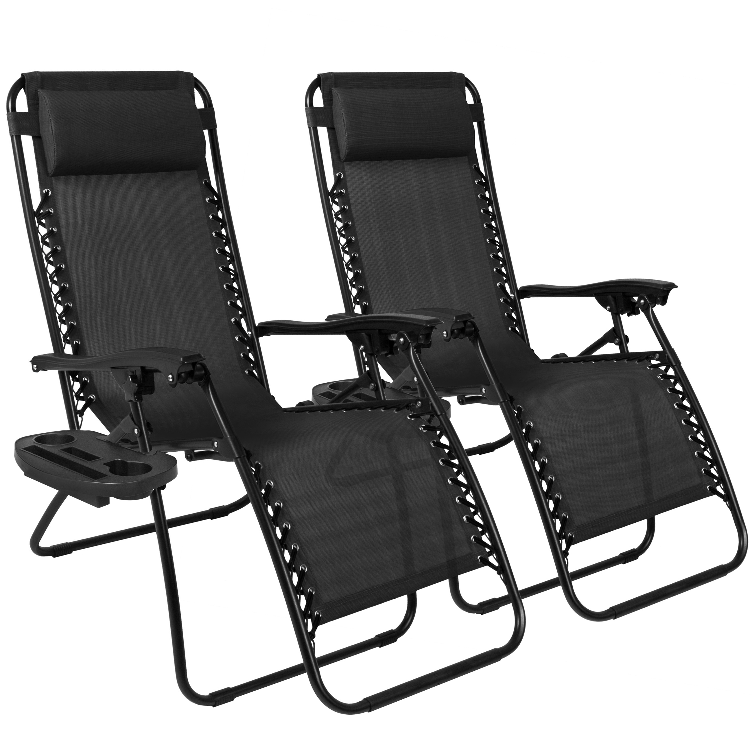 Zero Gravity Chairs Case Of (2) Black Lounge Patio Chairs Utility Pool Tray  Cup