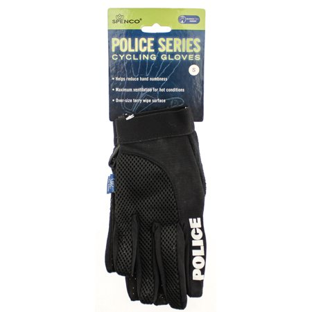 SPENCO POLICE Gel Small S Sm Cycling Black Bike Padded Full Finger Gloves NEW Spenco Cycling Gloves