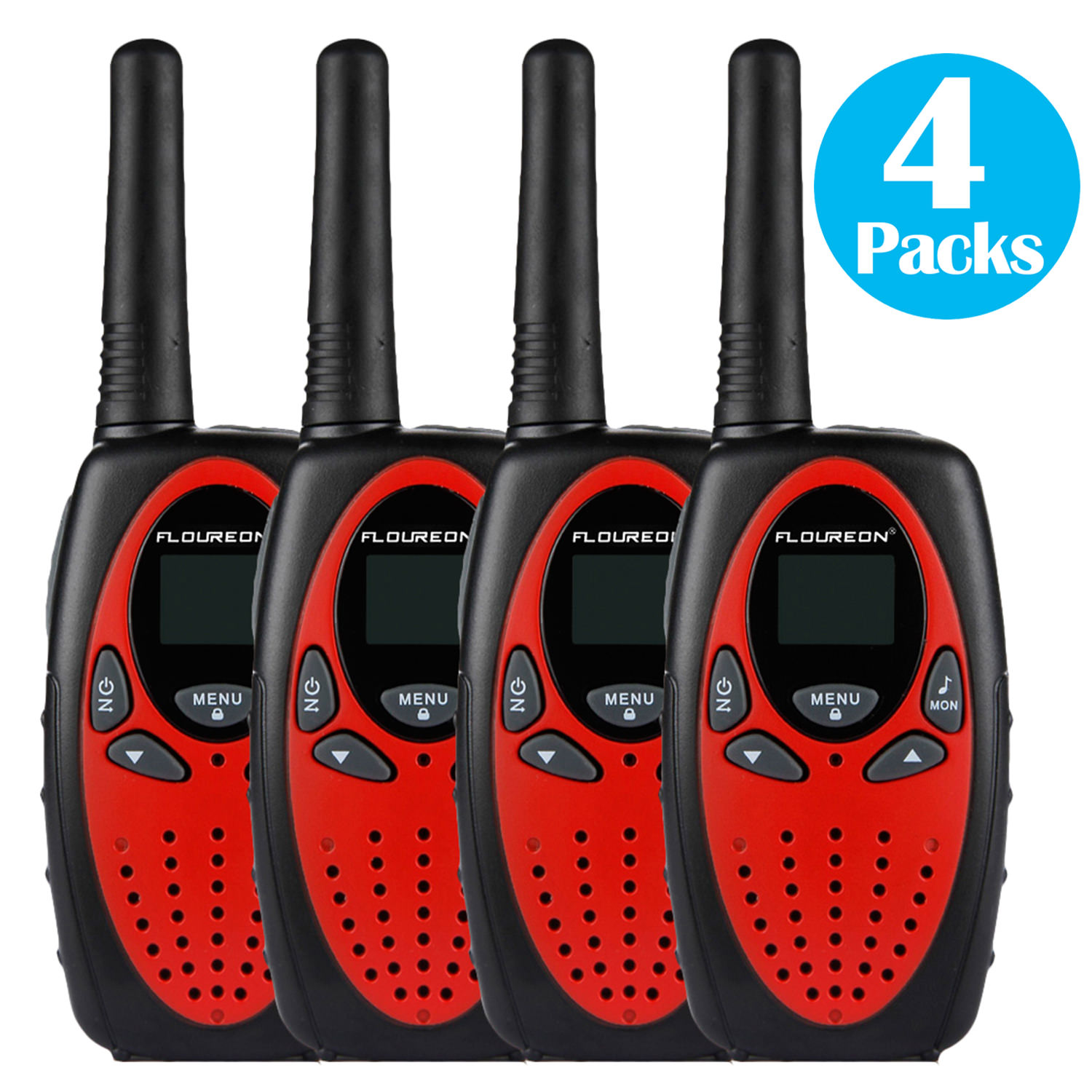 FLOUREON 4 Packs Walkie Talkies Two Way Radios 22 Channel 3000M (MAX 5000M open field) UHF Outdoor Long Range Handheld Talkies Talky for NERF Kids Adults(Red)