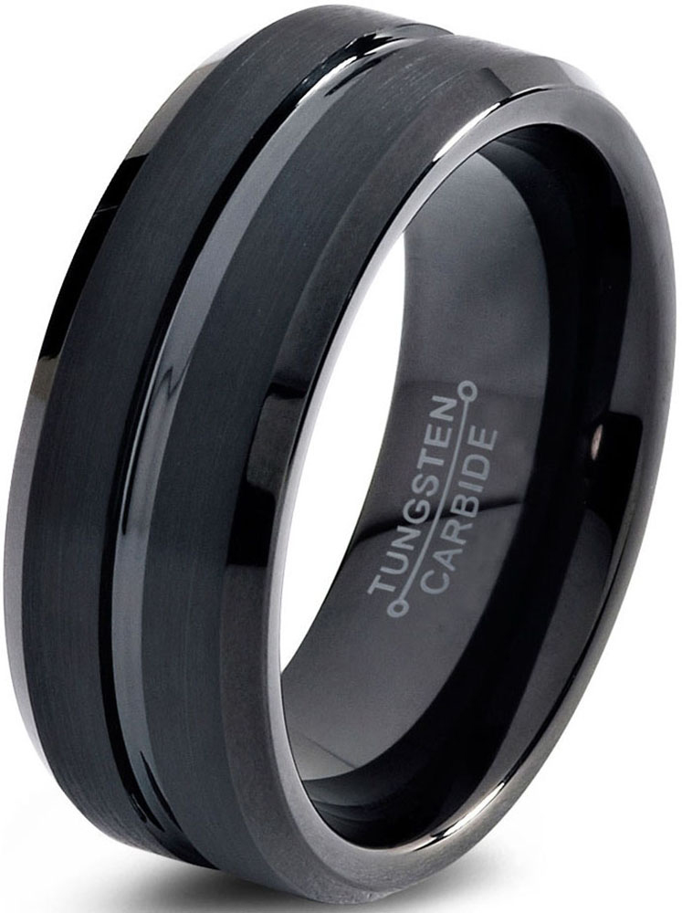 Tungsten Wedding Band Ring 8mm for Men Women Comfort Fit Black