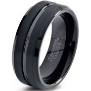 tungsten wedding band ring 8mm for men women comfort fit black beveled edge polished brushed lifetime - Mens Wedding Rings Black