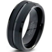 Tungsten Wedding Band Ring 8mm For Men Women Comfort Fit Black Beveled Edge Polished Brushed Lifetime