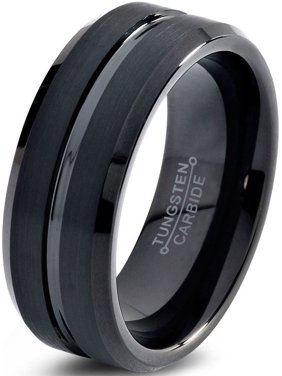 Charming Jewelers Black Tungsten Wedding Band Ring 8 or 10mm for Men Women Comfort Fit Black Beveled Edge Polished Brushed Lifetime Guarantee