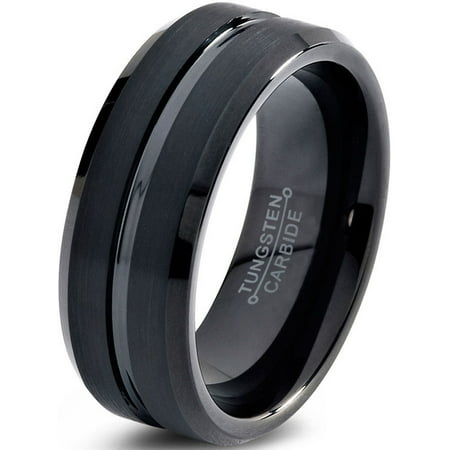 Charming Jewelers Tungsten Wedding Band Ring 8mm for Men Women Comfort Fit Black Beveled Edge Polished Brushed Lifetime -