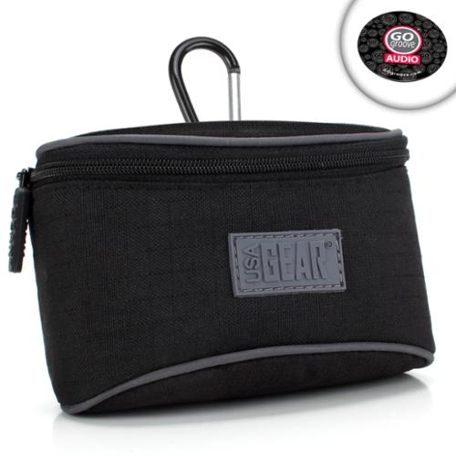 USA GEAR Compact Camera Case Bag with Belt Loop, Impact-Resistant Protective Nylon & Storage Pocket - Works With Panasonic Lumix DMC-GF8, DMC-ZS60, DMC-ZS100 & More Digital Cameras!